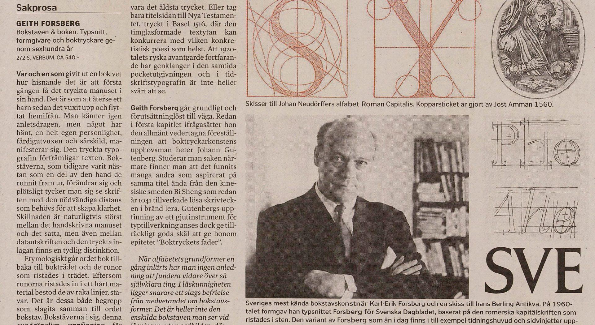 Karl-Erik Forsberg, article in SvD.